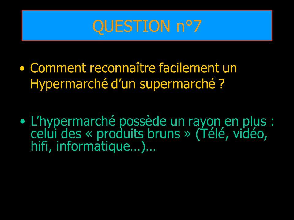 QUESTION n°7 Comment reconnaître facilement un Hypermarché dun supermarché ? Lhypermarché possède un rayon en plus : celui des « produits bruns » (Tél