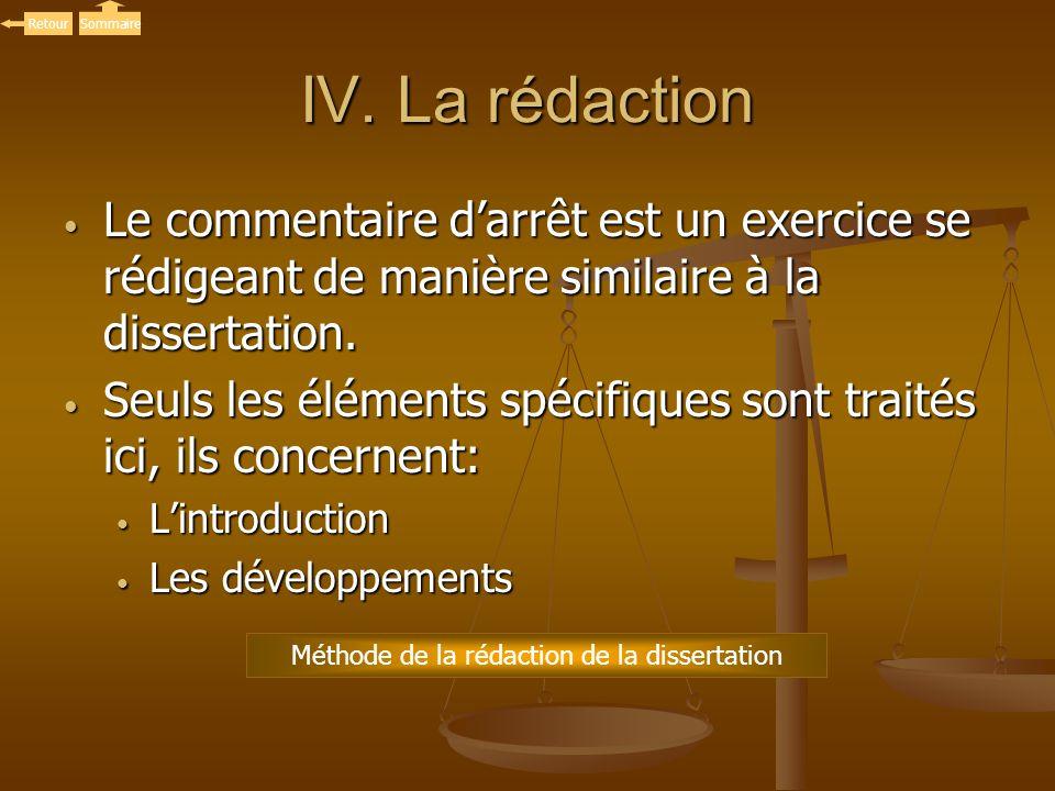 IV. La rédaction Le commentaire darrêt est un exercice se rédigeant de manière similaire à la dissertation. Le commentaire darrêt est un exercice se r
