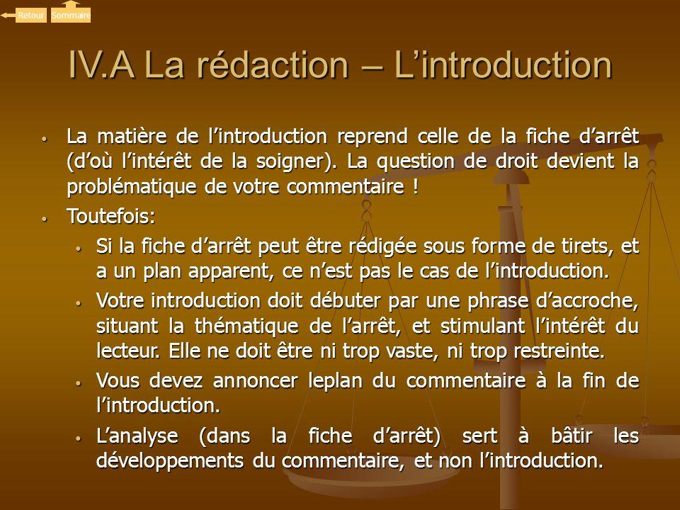 IV.A La rédaction – Lintroduction La matière de lintroduction reprend celle de la fiche darrêt (doù lintérêt de la soigner). La question de droit devi