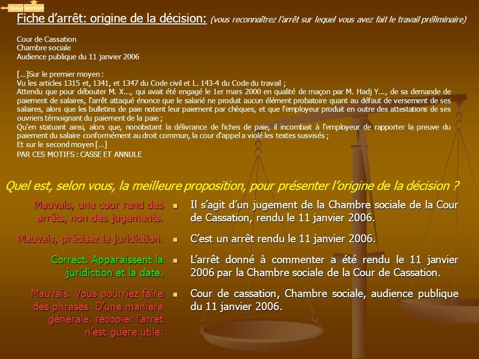 Cour de Cassation Chambre sociale Audience publique du 11 janvier 2006 […]Sur le premier moyen : Vu les articles 1315 et, 1341, et 1347 du Code civil