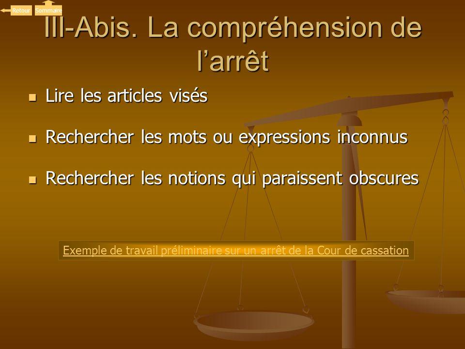 III-Abis. La compréhension de larrêt Lire les articles visés Lire les articles visés Rechercher les mots ou expressions inconnus Rechercher les mots o
