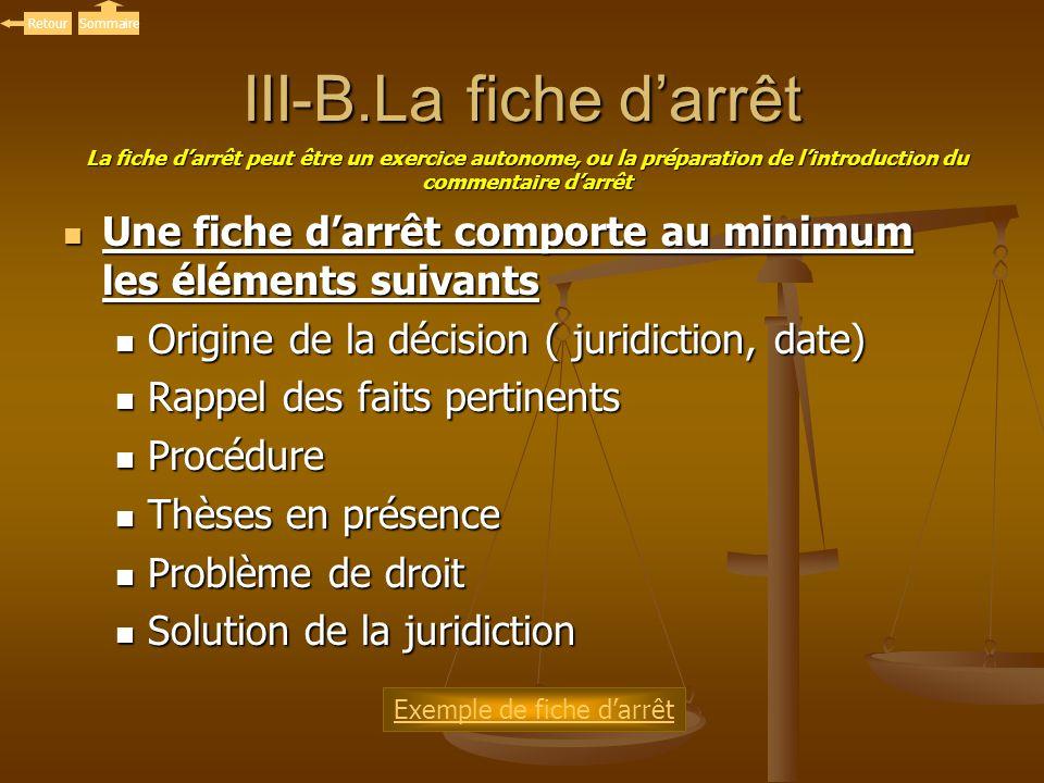 III-B.La fiche darrêt Une fiche darrêt comporte au minimum les éléments suivants Une fiche darrêt comporte au minimum les éléments suivants Origine de