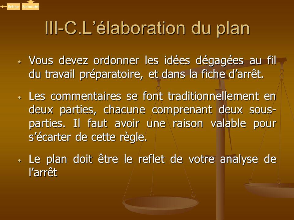 III-C.Lélaboration du plan Vous devez ordonner les idées dégagées au fil du travail préparatoire, et dans la fiche darrêt. Vous devez ordonner les idé