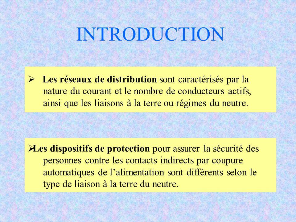 Les réseaux de distribution sont caractérisés par la nature du courant et le nombre de conducteurs actifs, ainsi que les liaisons à la terre ou régimes du neutre.