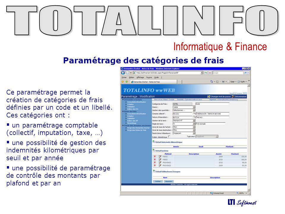 Informatique & Finance LTI Softinvest Paramétrage des catégories de frais Ce paramétrage permet la création de catégories de frais définies par un cod