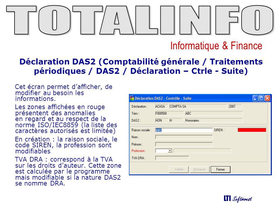 Informatique & Finance LTI Softinvest Déclaration DAS2 (Comptabilité générale / Traitements périodiques / DAS2 / Déclaration – Edition) Cette fonction permet : déditer : Les lettres DAS2 La déclaration DAS2 papier de générer un fichier dexport au format DADSU ou TD bilatérale