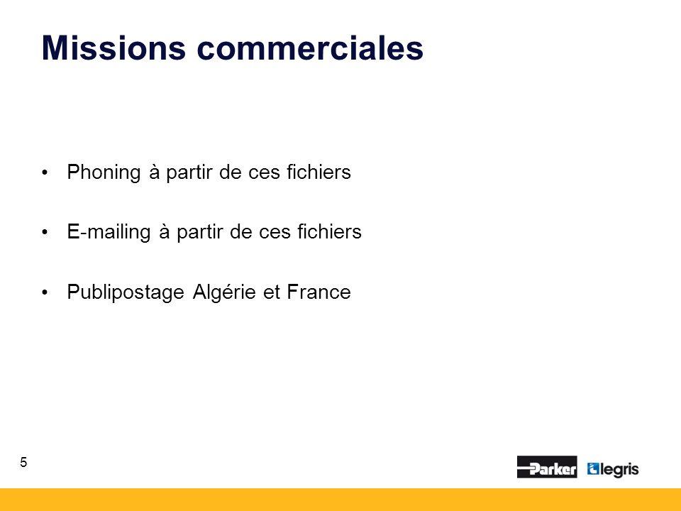 Missions commerciales Phoning à partir de ces fichiers E-mailing à partir de ces fichiers Publipostage Algérie et France 5