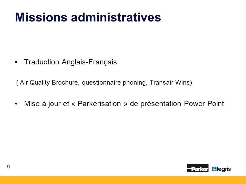Missions administratives Traduction Anglais-Français ( Air Quality Brochure, questionnaire phoning, Transair Wins) Mise à jour et « Parkerisation » de