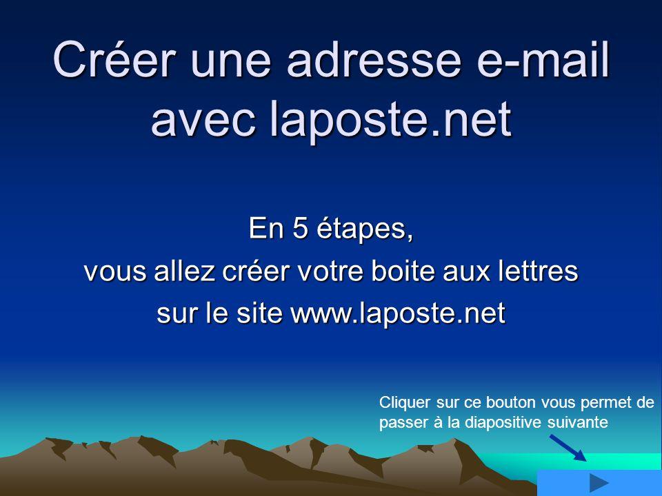 Créer une adresse e-mail avec laposte.net En 5 étapes, vous allez créer votre boite aux lettres sur le site www.laposte.net Cliquer sur ce bouton vous permet de passer à la diapositive suivante
