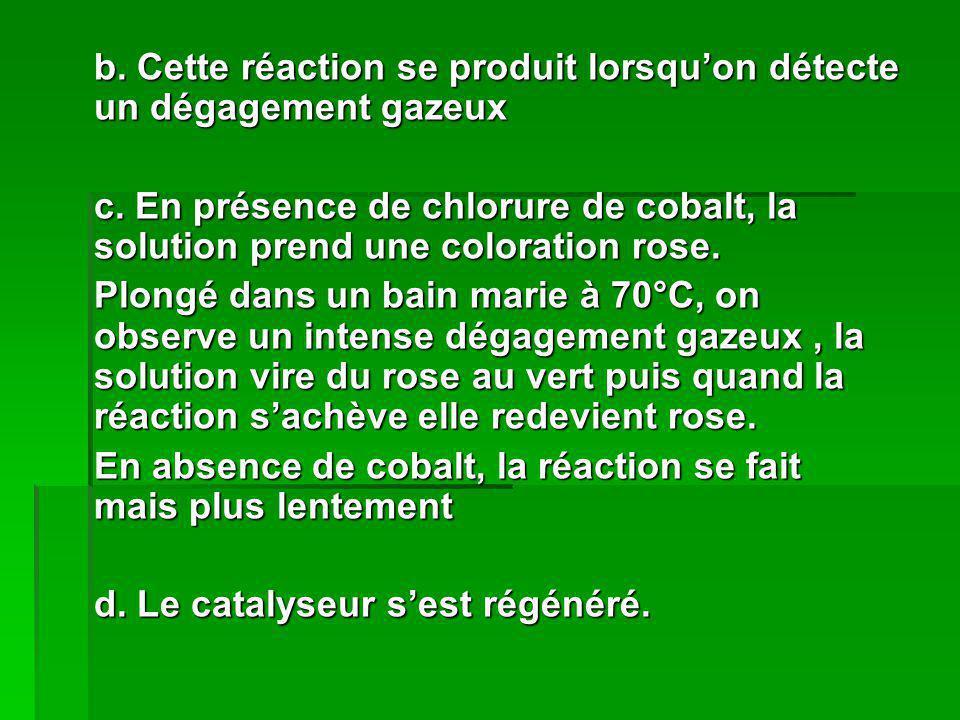 b. Cette réaction se produit lorsquon détecte un dégagement gazeux c. En présence de chlorure de cobalt, la solution prend une coloration rose. Plongé