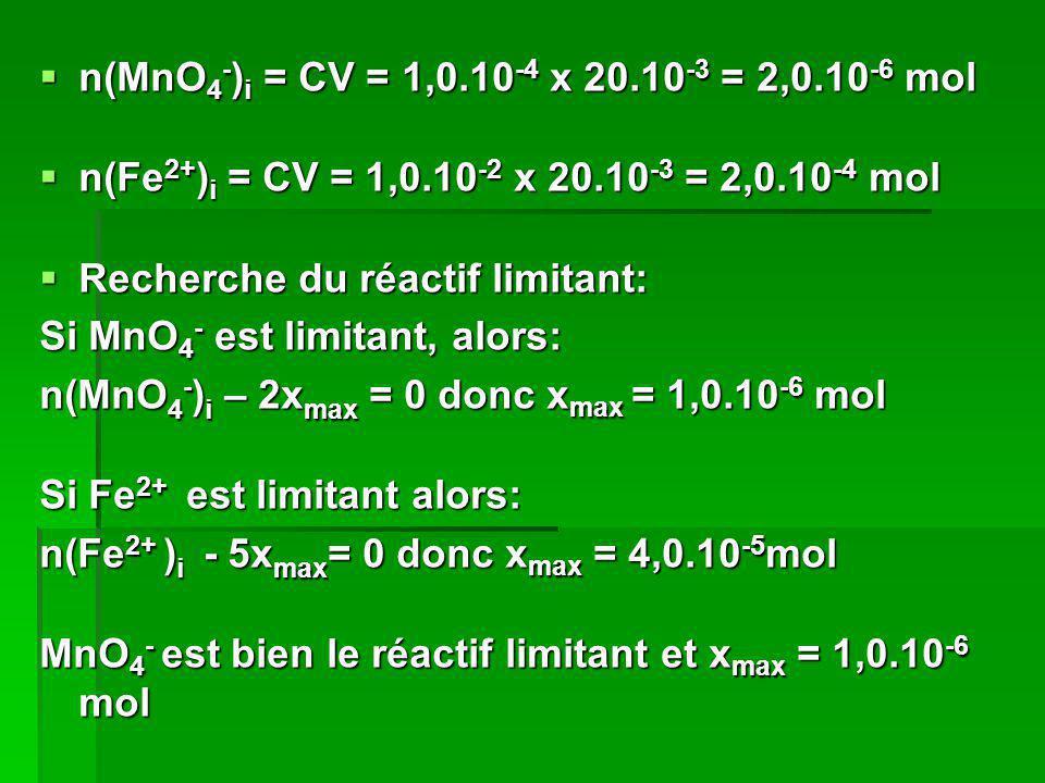n(MnO 4 - ) i = CV = 1,0.10 -4 x 20.10 -3 = 2,0.10 -6 mol n(MnO 4 - ) i = CV = 1,0.10 -4 x 20.10 -3 = 2,0.10 -6 mol n(Fe 2+ ) i = CV = 1,0.10 -2 x 20.