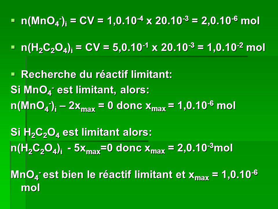 n(MnO 4 - ) i = CV = 1,0.10 -4 x 20.10 -3 = 2,0.10 -6 mol n(MnO 4 - ) i = CV = 1,0.10 -4 x 20.10 -3 = 2,0.10 -6 mol n(H 2 C 2 O 4 ) i = CV = 5,0.10 -1
