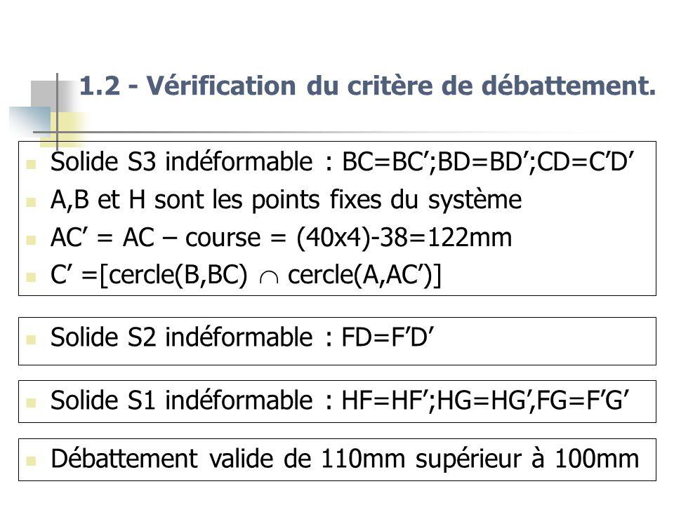 1.2 - Vérification du critère de débattement. Solide S3 indéformable : BC=BC;BD=BD;CD=CD A,B et H sont les points fixes du système AC = AC – course =