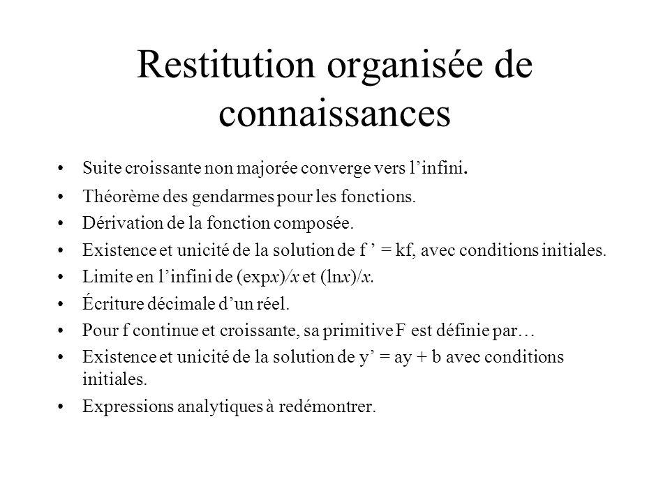 Restitution organisée de connaissances Suite croissante non majorée converge vers linfini.