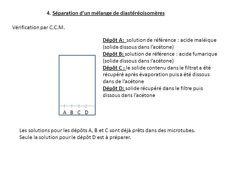 4. Séparation dun mélange de diastéréoisomères Vérification par C.C.M. ABCD Dépôt A: solution de référence : acide maléique (solide dissous dans lacét