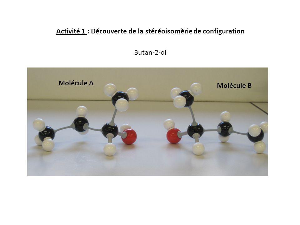 Activité 1 : Découverte de la stéréoisomèrie de configuration Molécule A Molécule B Butan-2-ol