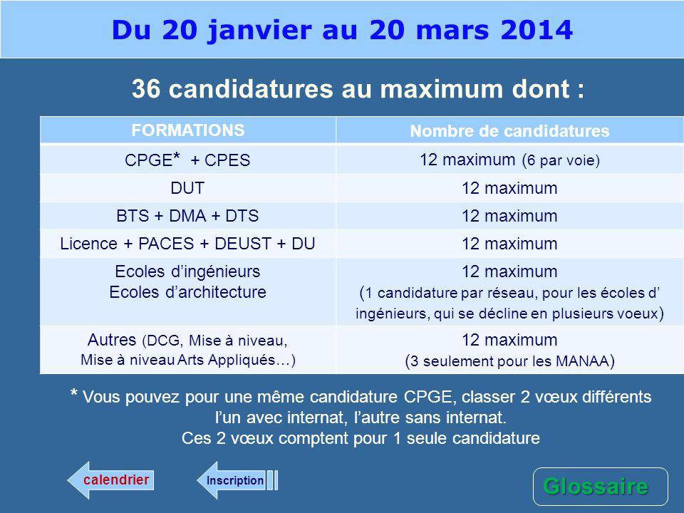 36 candidatures au maximum dont : FORMATIONS Nombre de candidatures CPGE * + CPES 12 maximum ( 6 par voie) DUT 12 maximum BTS + DMA + DTS 12 maximum L