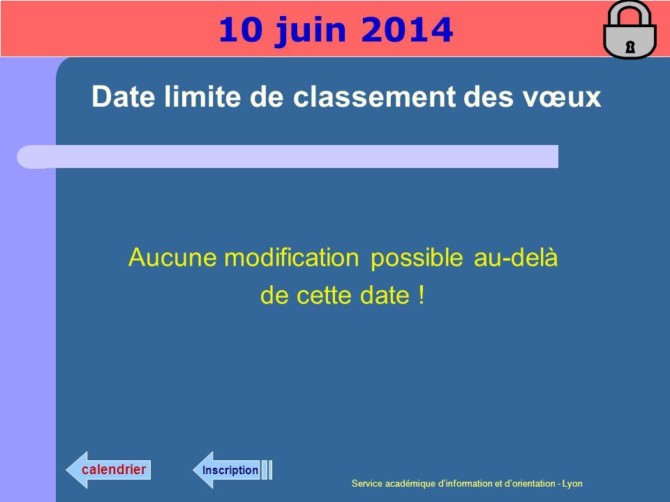 Service académique dinformation et dorientation - Lyon Date limite de classement des vœux Aucune modification possible au-delà de cette date .