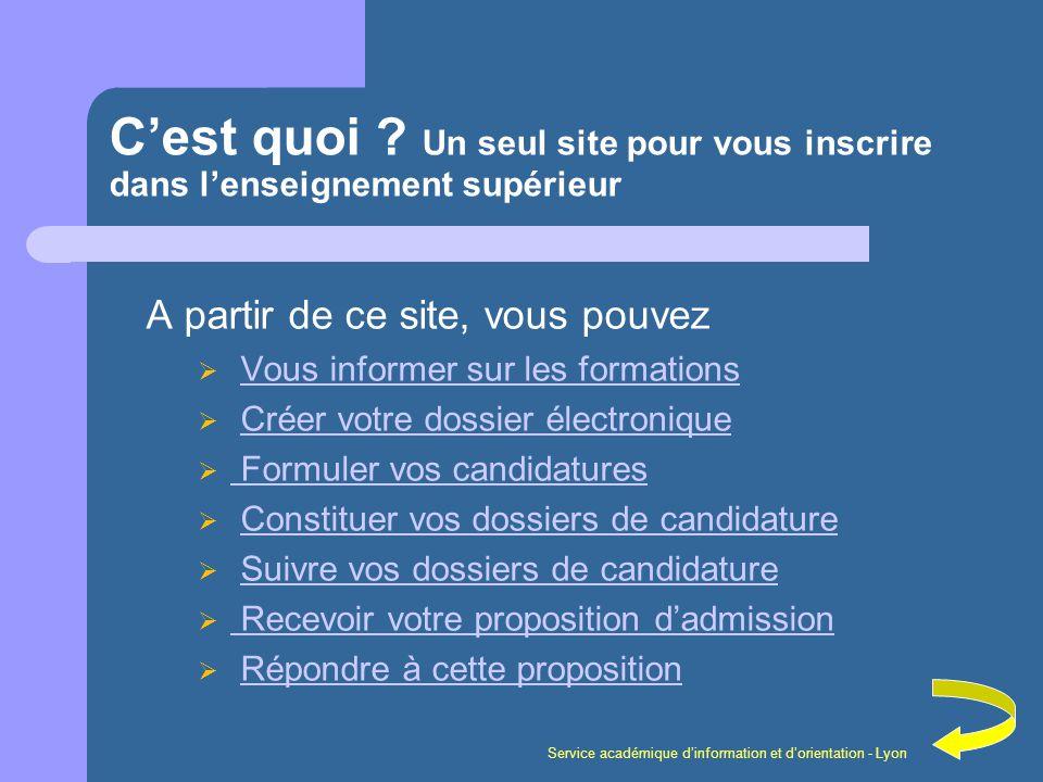 Service académique dinformation et dorientation - Lyon Cest quoi ? Un seul site pour vous inscrire dans lenseignement supérieur A partir de ce site, v