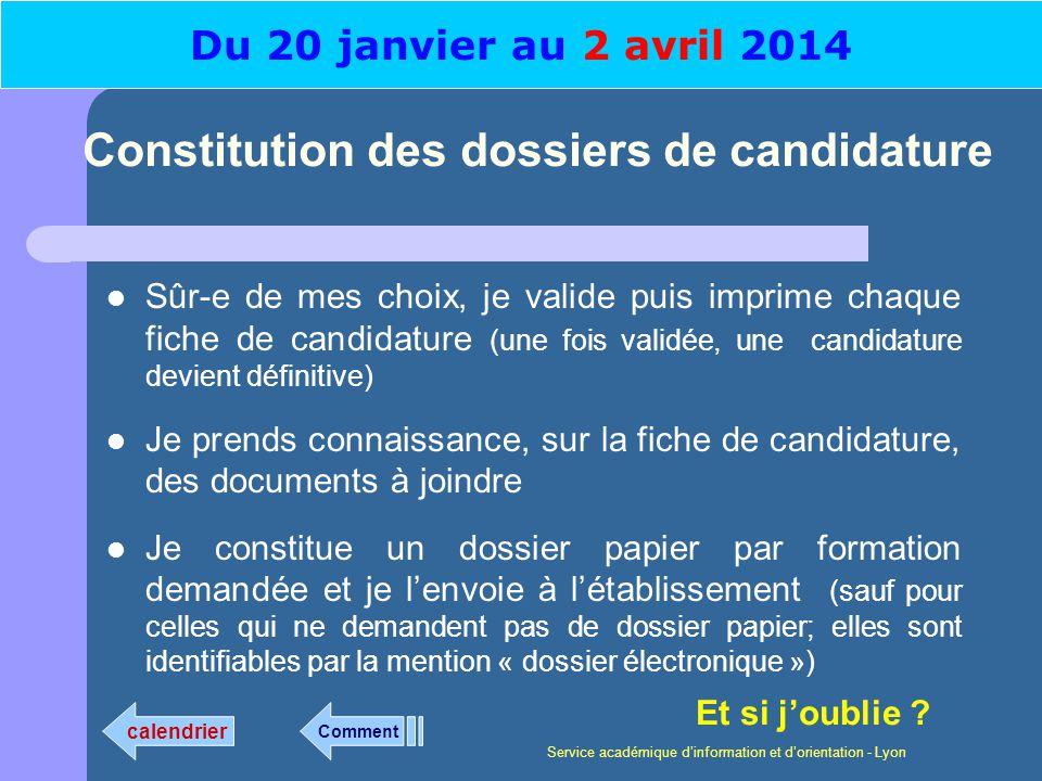 Service académique dinformation et dorientation - Lyon Constitution des dossiers de candidature Sûr-e de mes choix, je valide puis imprime chaque fich