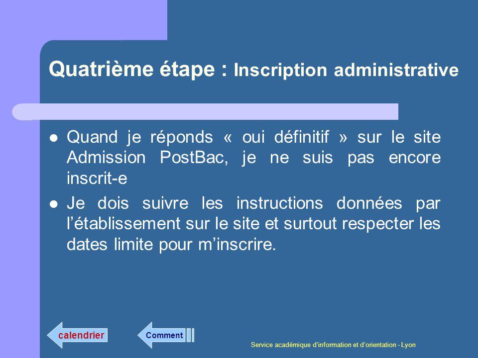 Service académique dinformation et dorientation - Lyon Quatrième étape : Inscription administrative Quand je réponds « oui définitif » sur le site Adm