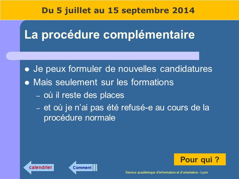 Service académique dinformation et dorientation - Lyon La procédure complémentaire Je peux formuler de nouvelles candidatures Mais seulement sur les f