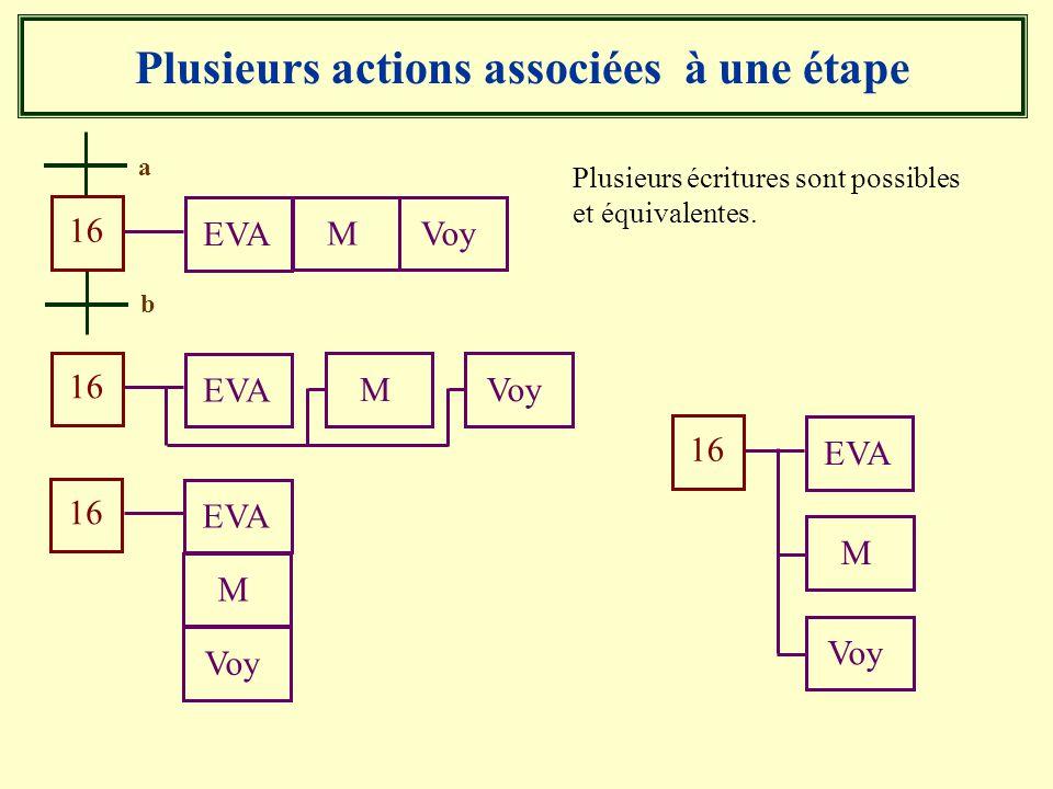 Plusieurs actions associées à une étape Plusieurs écritures sont possibles et équivalentes. b 16 a MVoy EVA 16 MVoy EVA 16 M Voy EVA 16 M Voy EVA