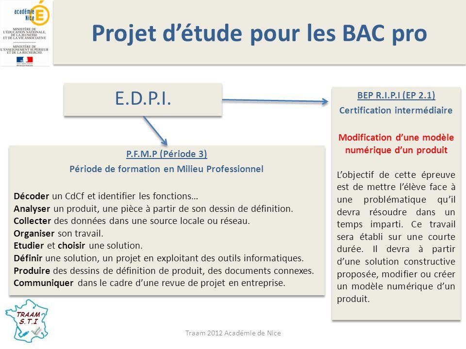 Traam 2012 Académie de Nice Projet détude pour les BAC pro M.E.I.