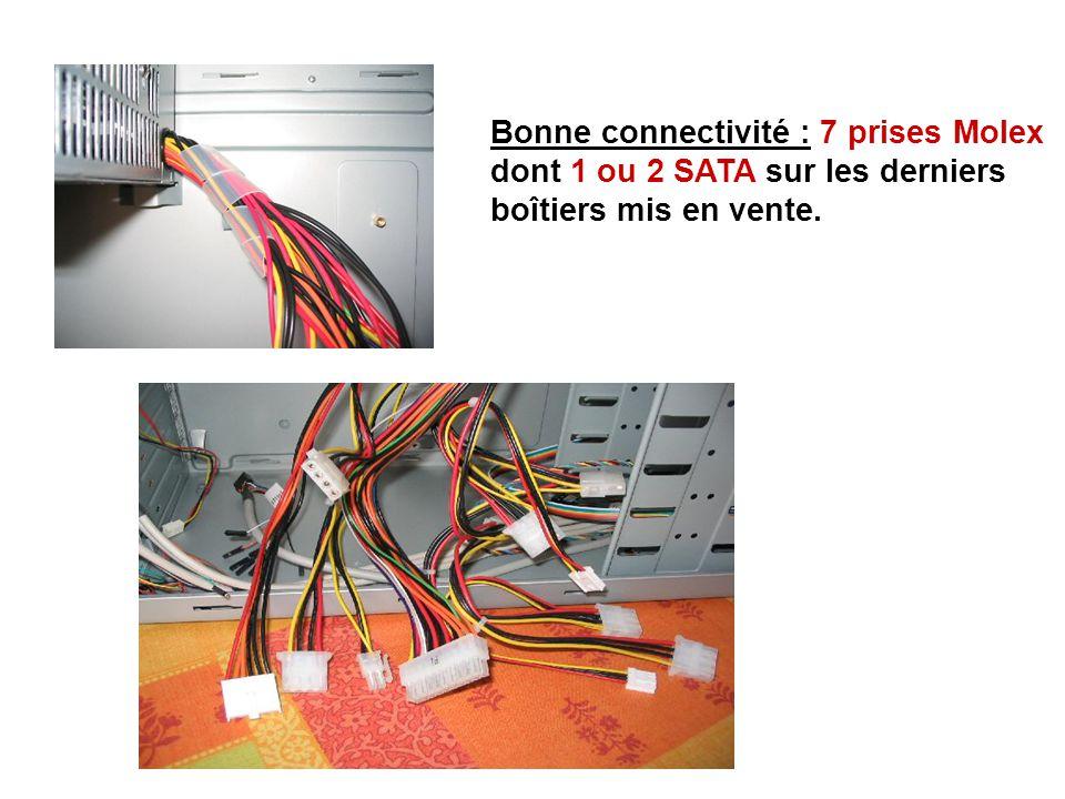 Bonne connectivité : 7 prises Molex dont 1 ou 2 SATA sur les derniers boîtiers mis en vente.