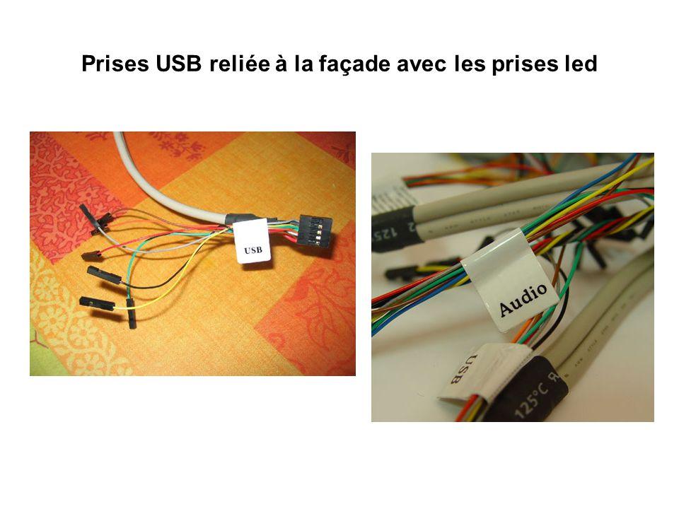 Prises USB reliée à la façade avec les prises led