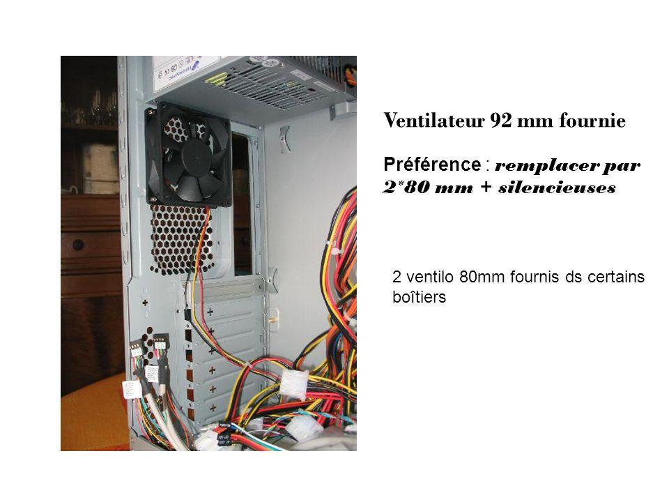 Ventilateur 92 mm fournie Préférence : remplacer par 2*80 mm + silencieuses 2 ventilo 80mm fournis ds certains boîtiers