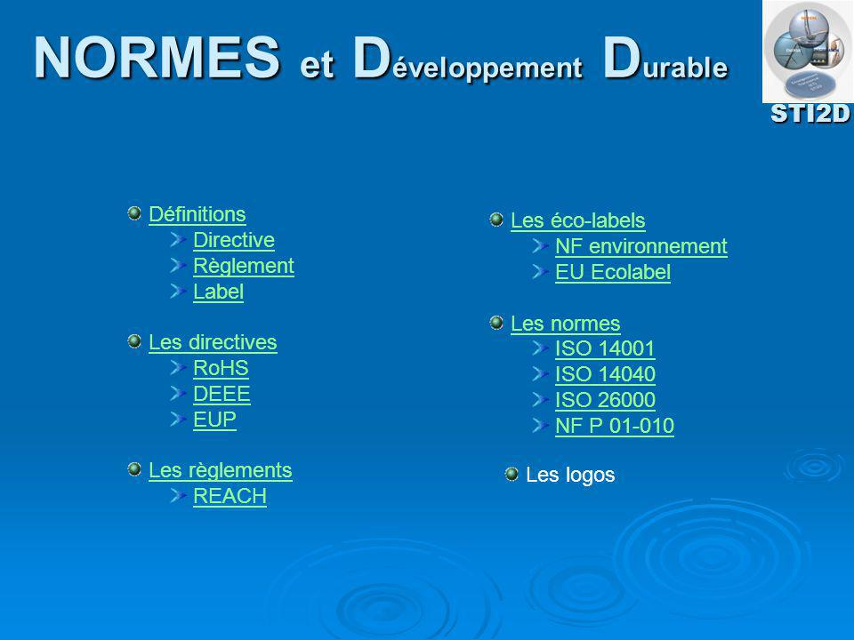 Définitions Directive Règlement Label Les directivesLes directives RoHS DEEE EUP Les règlementsLes règlements REACH Les éco-labelsLes éco-labels NF en