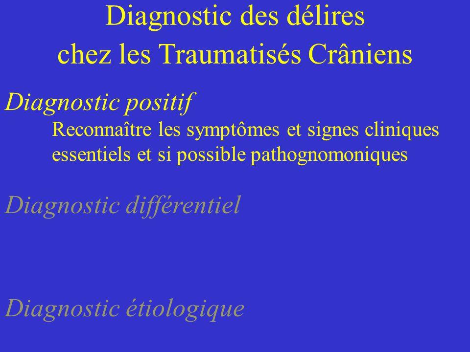 Diagnostic des délires chez les Traumatisés Crâniens Diagnostic positif Reconnaître les symptômes et signes cliniques essentiels et si possible pathog