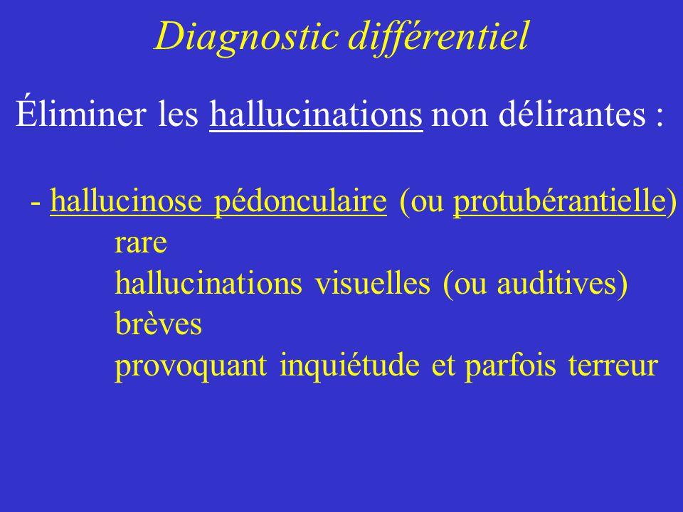 - hallucinose pédonculaire (ou protubérantielle) rare hallucinations visuelles (ou auditives) brèves provoquant inquiétude et parfois terreur Diagnost