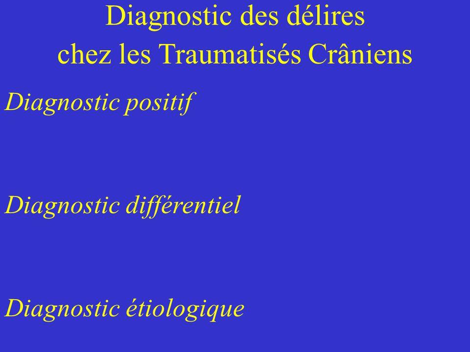 Diagnostic des délires chez les Traumatisés Crâniens Diagnostic positif Diagnostic différentiel Diagnostic étiologique