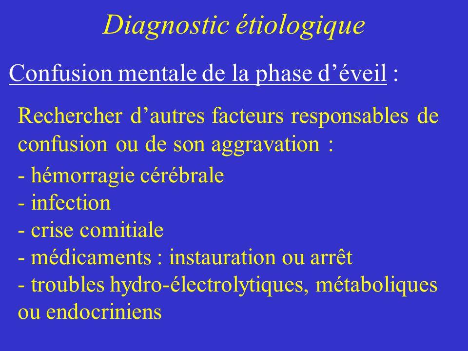 Rechercher dautres facteurs responsables de confusion ou de son aggravation : - hémorragie cérébrale - infection - crise comitiale - médicaments : ins