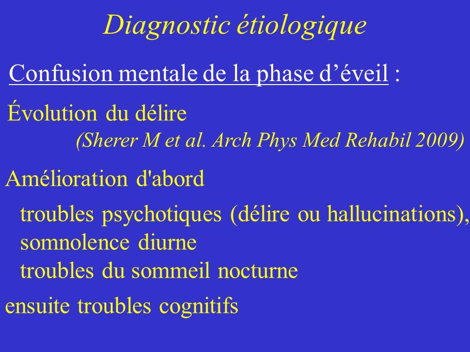 Confusion mentale de la phase déveil : Amélioration d'abord troubles psychotiques (délire ou hallucinations), somnolence diurne troubles du sommeil no