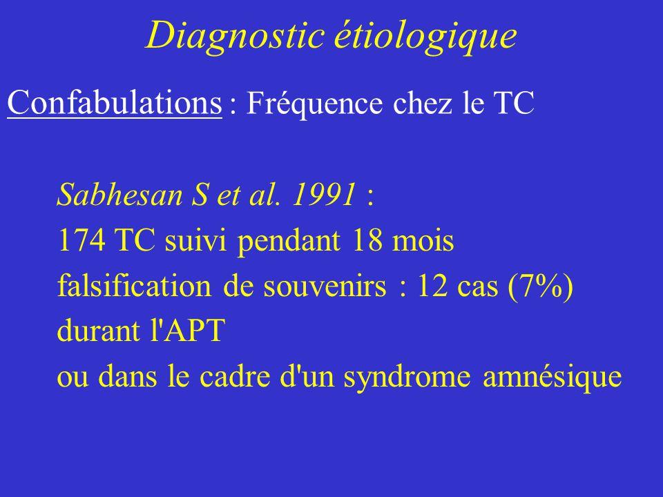 Sabhesan S et al. 1991 : 174 TC suivi pendant 18 mois falsification de souvenirs : 12 cas (7%) durant l'APT ou dans le cadre d'un syndrome amnésique C