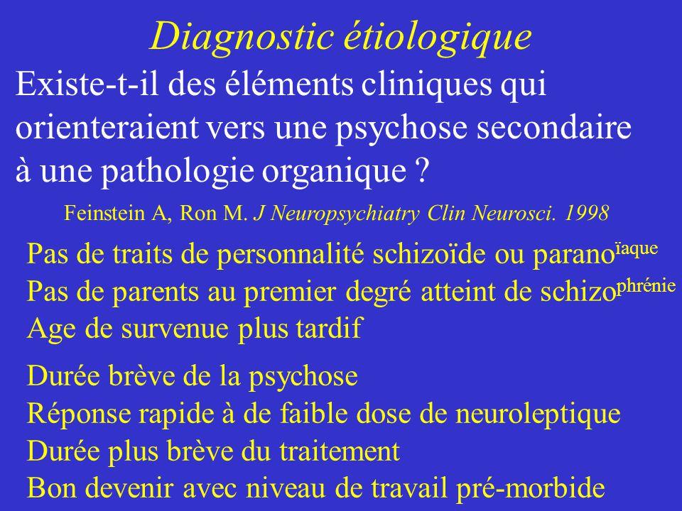 Diagnostic étiologique Pas de traits de personnalité schizoïde ou parano ïaque Pas de parents au premier degré atteint de schizo phrénie Age de surven