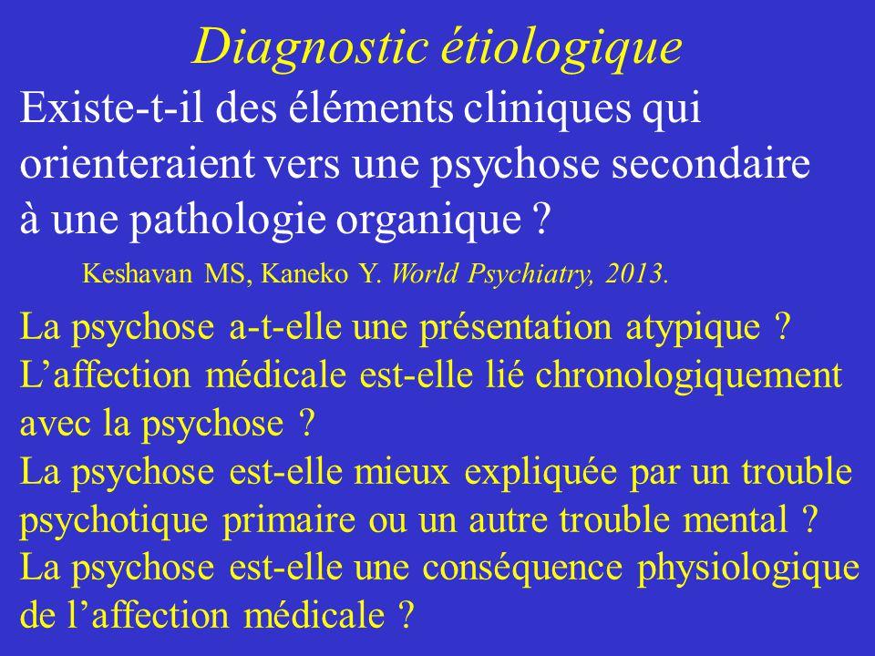 Diagnostic étiologique La psychose a-t-elle une présentation atypique ? Laffection médicale est-elle lié chronologiquement avec la psychose ? La psych