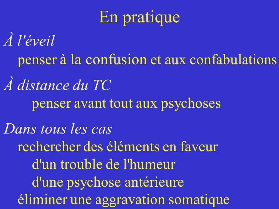 En pratique À distance du TC penser avant tout aux psychoses À l'éveil penser à la confusion et aux confabulations Dans tous les cas rechercher des él