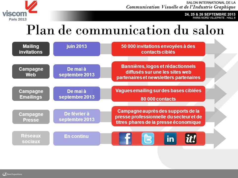 Plan de communication du salon Campagne Web Campagne Emailings Campagne Presse Réseaux sociaux Mailing invitations juin 2013 De mai à septembre 2013 5