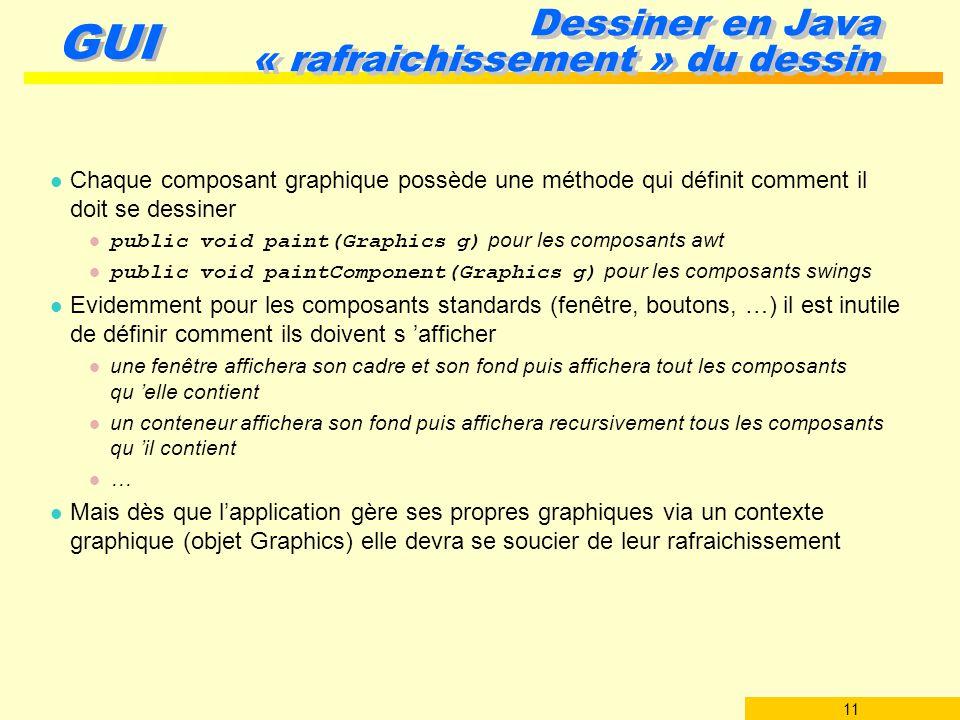 11 GUI Dessiner en Java « rafraichissement » du dessin l Chaque composant graphique possède une méthode qui définit comment il doit se dessiner public