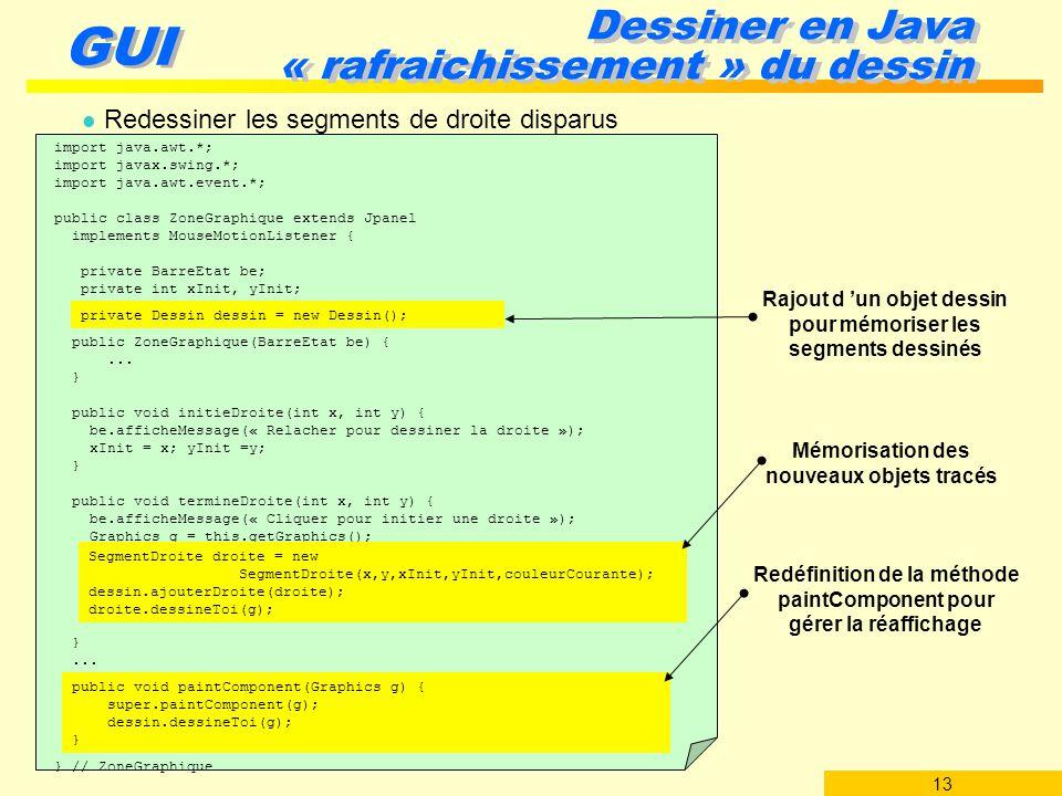 13 GUI Dessiner en Java « rafraichissement » du dessin l Redessiner les segments de droite disparus import java.awt.*; import javax.swing.*; import ja