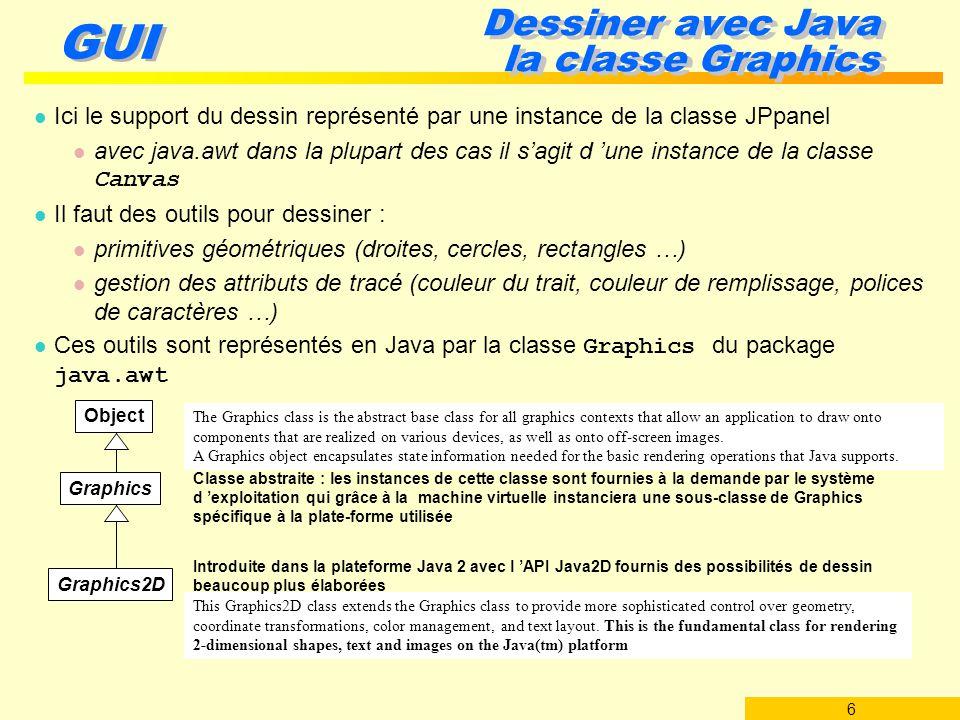 7 GUI Dessiner avec Java la classe Graphics2D l Démonstration des possibilités de Graphics2D programme de démonstration dans $JAVA_HOME/demo/jfc/JAVA2D/Java2Demo.jar