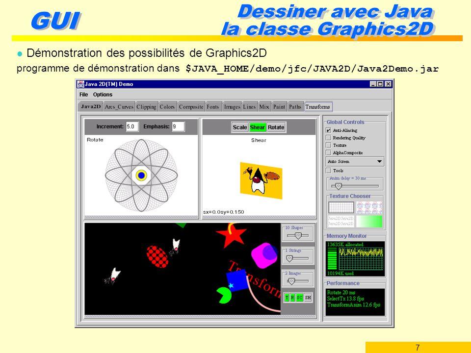 7 GUI Dessiner avec Java la classe Graphics2D l Démonstration des possibilités de Graphics2D programme de démonstration dans $JAVA_HOME/demo/jfc/JAVA2