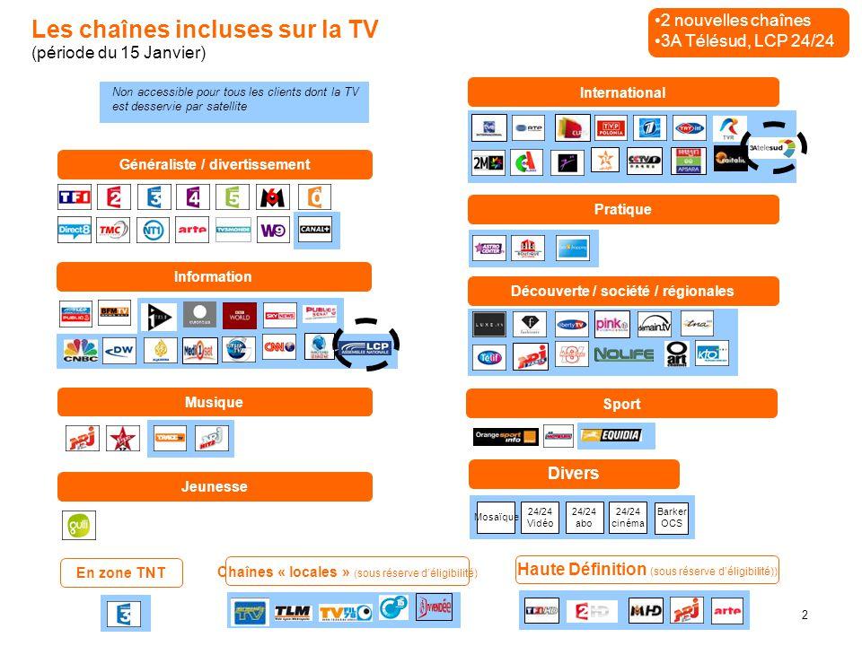2 Les chaînes incluses sur la TV (période du 15 Janvier) Généraliste / divertissement Information International Pratique Découverte / société / région