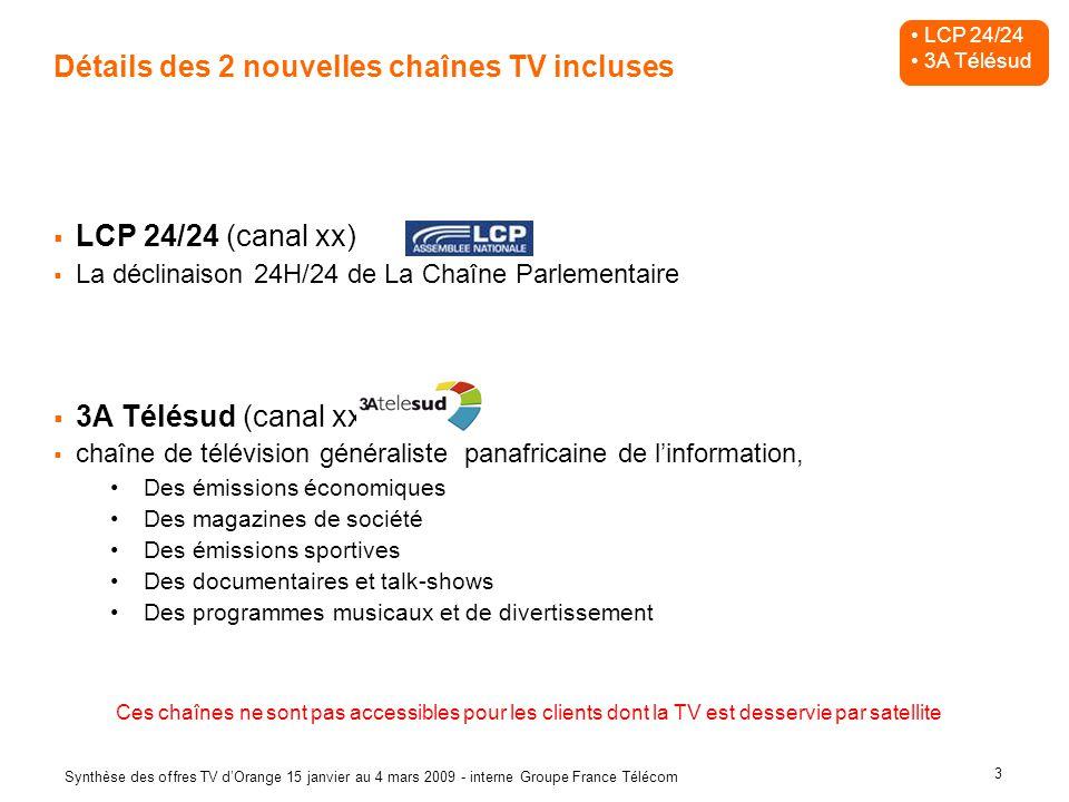 3 Synthèse des offres TV dOrange 15 janvier au 4 mars 2009 - interne Groupe France Télécom Détails des 2 nouvelles chaînes TV incluses LCP 24/24 (cana