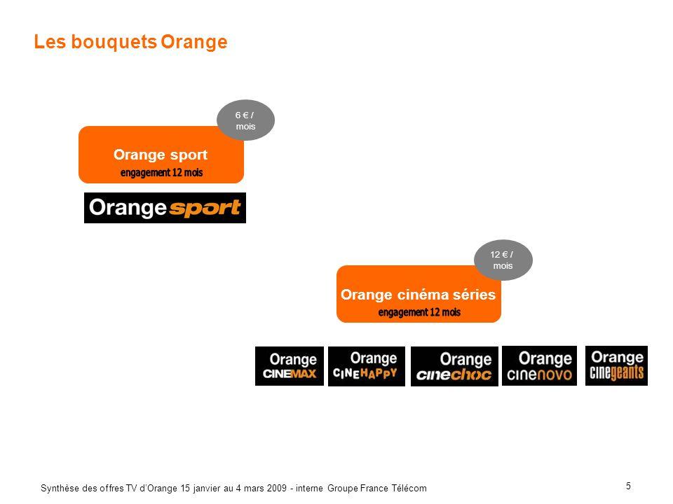 5 Synthèse des offres TV dOrange 15 janvier au 4 mars 2009 - interne Groupe France Télécom Les bouquets Orange Orange sport 6 / mois Orange cinéma sér