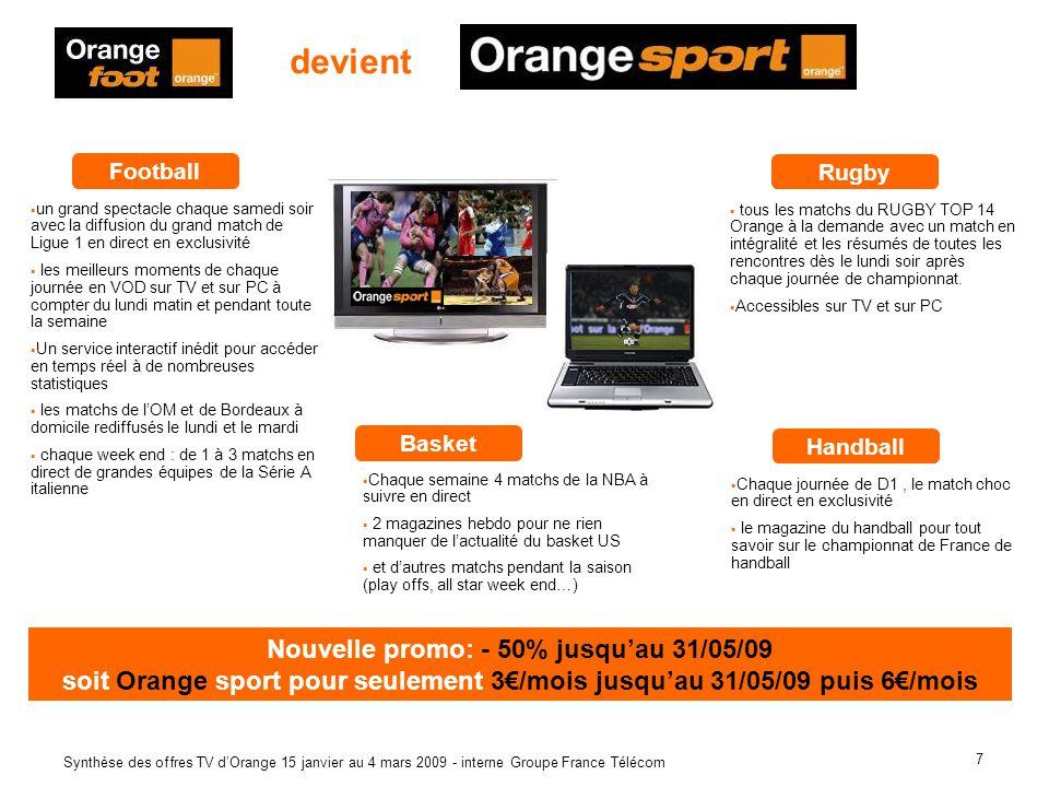 7 Synthèse des offres TV dOrange 15 janvier au 4 mars 2009 - interne Groupe France Télécom devient Football un grand spectacle chaque samedi soir avec